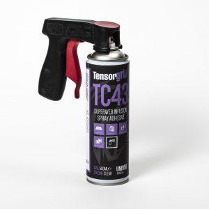 Adhesivo spray con maneta para aplicacion facil para infusion RTM pegado de fibras, pelable, film